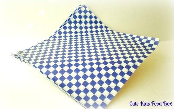 Checkered Wax Paper Wax Paper 25 Blue Checker