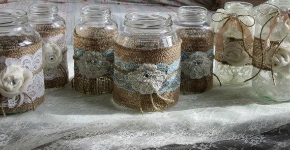 Vintage aqua lace on burlap wedding mason jars set of