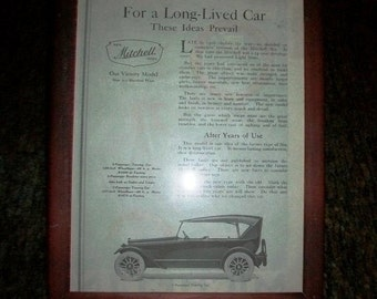 Vintage Framed Automobile Advertisement Mitchell Cars 1919