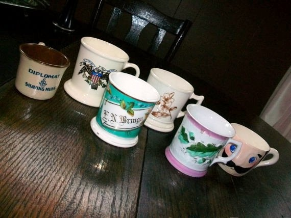 Antique Shaving Mugs Collection of 6