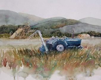 watercolor ORIGINAL Second Cutting farm tractor hay rural watercolour