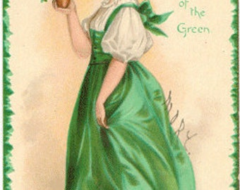 Vintage postcard, Artist Signed, Clapsaddle, The Wearing of the Green, ca. 1910