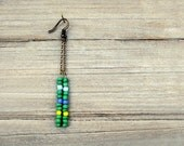Green and Blue Earrings, Long  Dangle Earrings, Beaded Glass Earrings, Chain Earrings