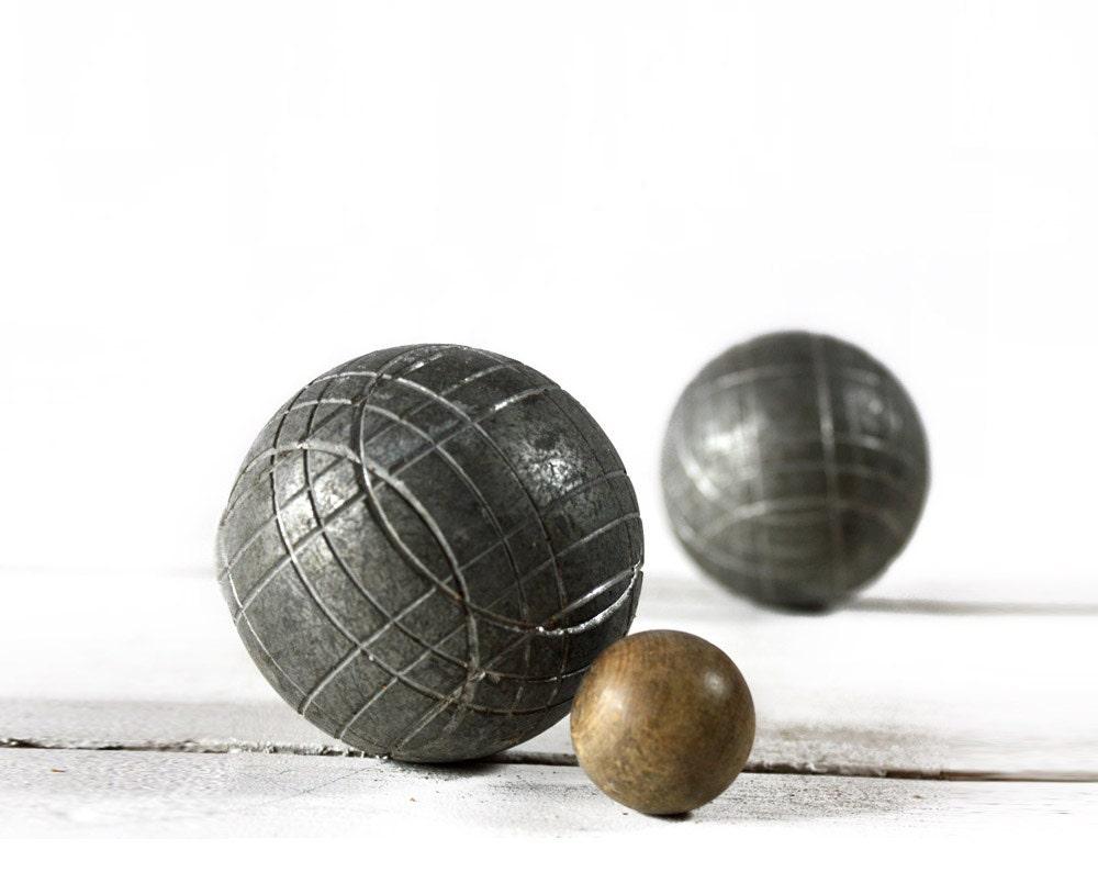 vintage french iron boules de petanque set. Black Bedroom Furniture Sets. Home Design Ideas