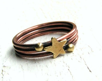 Copper Stacking Rings with Brass Star and Balls