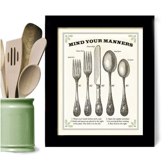 Black And White Kitchen Artwork: Kitchen Art Print Good Manners Framed Cooking Gift With By