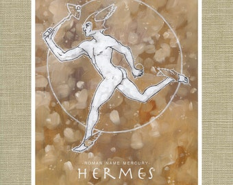 Hermes and Mercury the Messenger of the Gods - Olympians Art Print 11 x 14