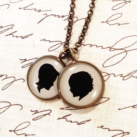 Two Medium Size Pendant Brass Necklace with Custom Child or Pet Silhouettes for Mother or Grandmother