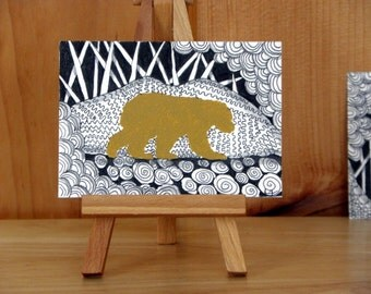 BEAR WILDLIFE ACEO - Artist Trading Card, Abstract Mixed Media Acrylic Paint and Ink, Zentangle Inspired Small Format Art