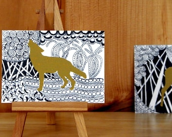 COYOTE WILDLIFE ACEO - Abstract Coyote Art, Acrylic Painting and Ink, Zentangle Inspired Art, Mixed Media