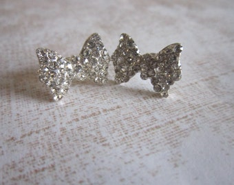 Silver Rhinestone Crystal Bow Stud Earrings
