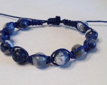 Blue Sodalite Semi-Precious Stone Beads on Blue Waxed Cotton Bracelet