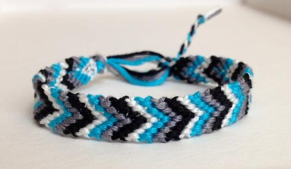 CLEARANCE - Turquoise, Black, Gray & White Chevron Friendship Bracelet