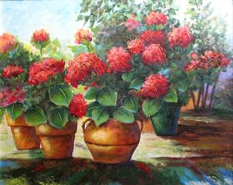 RED GERANIUMS, an original acrylic floral painting