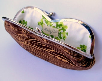 Woodland glasses case Kiss lock purse frame Soft eyeglass case with clasp purse