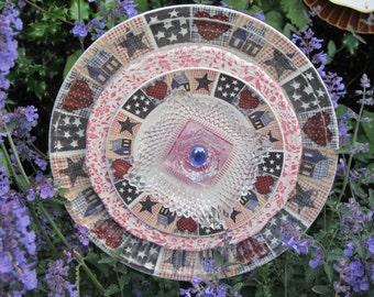 Recycled Glass Plate Garden Art Fantasy Flower