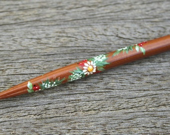 Painted Honiton Lace Bobbin - white flowers, berries and fir branches