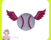 Baseball with wings Applique design