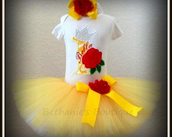 Enchanted rose birthday outfit - 1st birthday princess tutu outfit- yellow princess tutu outfit with red rose- yellow birthday outfit