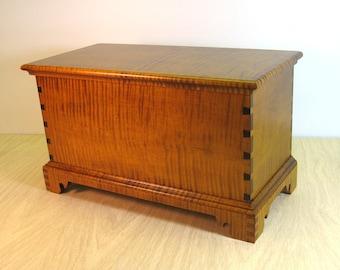 Tiger Maple Miniature Blanket Chest Keepsake Box