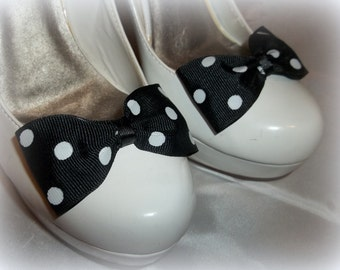 Polka Dot Bow Shoe Clips,Wedding Accessories, Bridal Shoe Clips, Womens Accessories, Girls, Shoe Clips for Shoes, MANY COLORS AVAILABLE