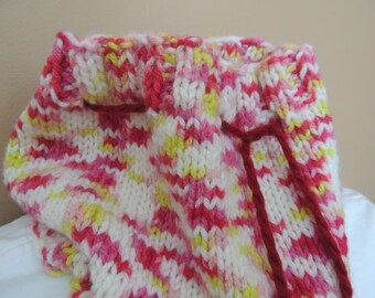 Hand Knit Cowl - Candy - Adjustable Drawstring
