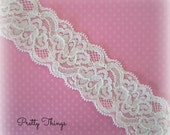 "IVORY Stretch Lace 1.5""  wide --2 Yards. MARA Lace."