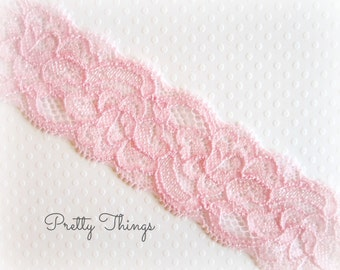 "Pink Stretch Lace  1.5""  wide --2 Yards. MARA Lace."