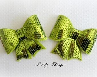 Lime Sequin Bows. Set of 2. Large Sequin Bows.