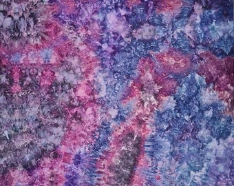 Ice Dyed  Fabric, Hand Dyed Quilt Cotton, Jeweled Storm, 1 Yard (MH) #111