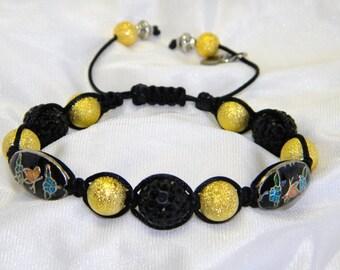 Black Braided Bracelet with Swarovski Pave Beads Black Gold