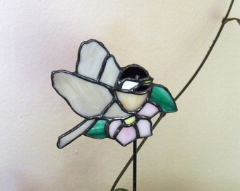 Stained Glass Chickadee & Flower Plant Stake