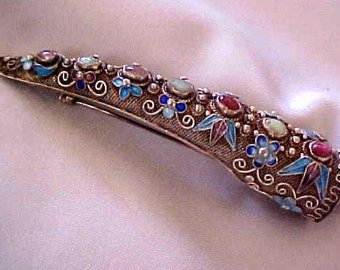 CLEARANCE!!!!   Gorgeous Antique Silver, Enamel, Gemstone Finger-Ring Brooch