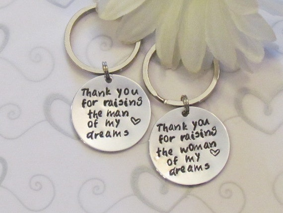 Thank You KEYCHAINS --Wedding Set of TwoRaising the WOMAN and MAN ...