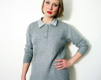 Vintage 70s Silver Collared Knit Sweater