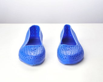 Vintage 80s Blue Perforated Jelly Flat Shoes