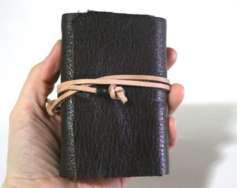 Leather Journal, Pocket-Size, Dark Brown 3 x 4.5 Journals by The Orange Windmill