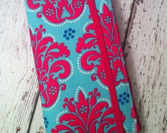 Hot pink and blue damask print wallet for HTC Evo, Desire, Inspire, Samsung Galaxy and Droid with removable gel case