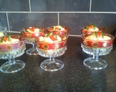 Vintage/Retro Ruby flash glass sundae dessert stemmed dishes x 6