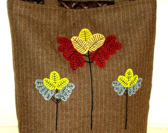 Autun/winter wool bag hand applique and embroiderd with a colorful flowers