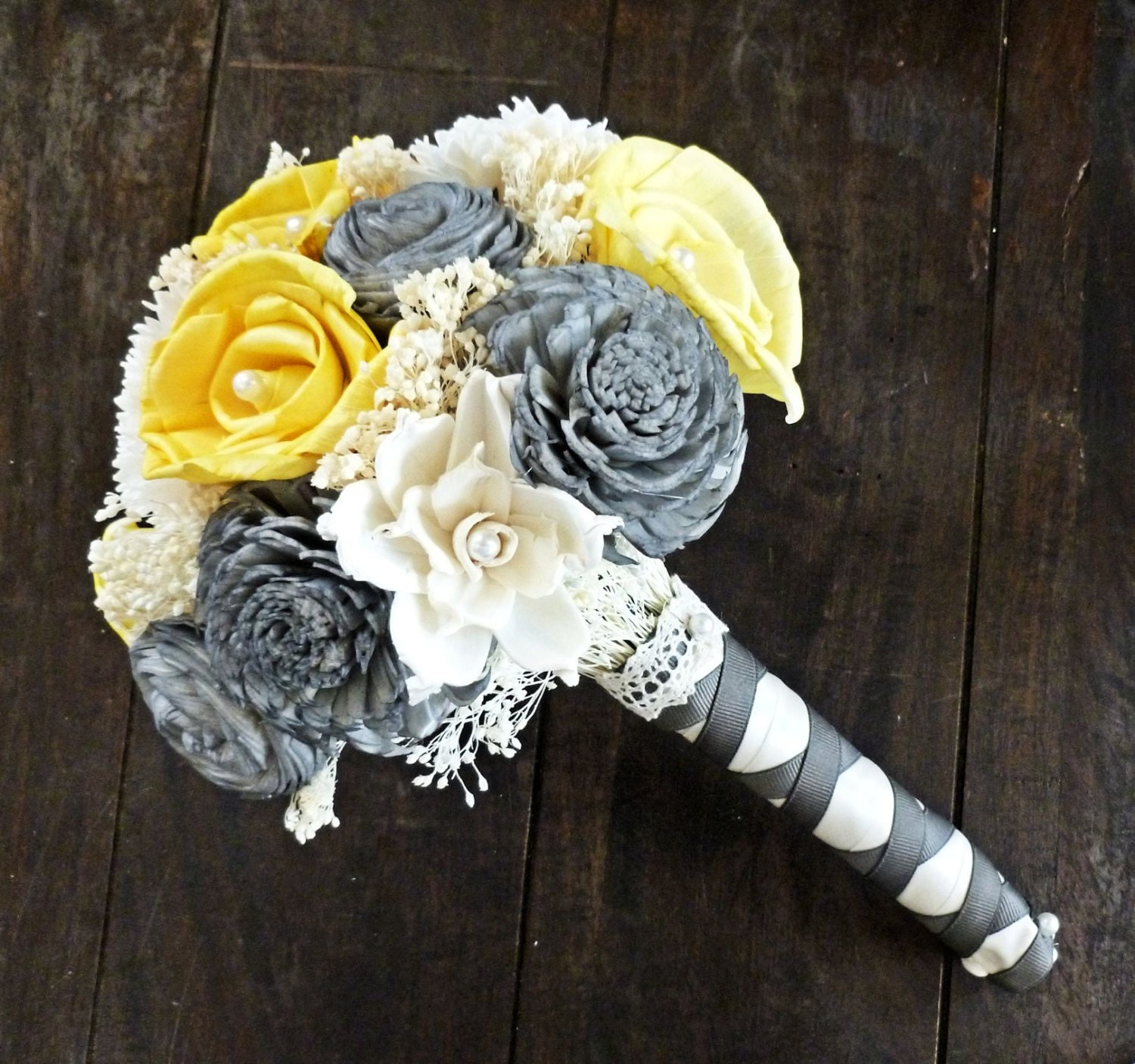 Custom Handmade Wedding Bouquet Yellow Gray Ivory Bridal