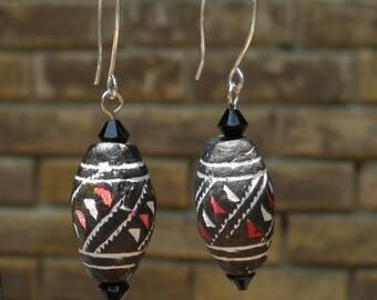 Black and red carved horn tribal earrings