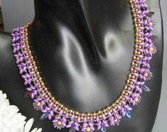 Tutorial - Lavender Fields - Superduo beading tutorial Necklace