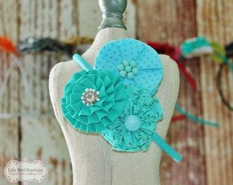 Aqua Blue Fabric Flower Headband - Child, Toddler, Girl, Little Girl - READY TO SHIP