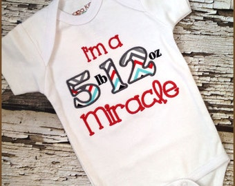 Embroidered Boys Miracle Shirt - Custom Embroidered Tshirt - March Of Dimes Shirt or Bodysuit