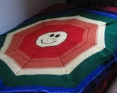 crochet afghan, bedspread, happy face, smiley face