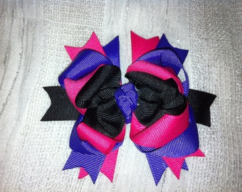 Boutique hair bow, dark purple, hot pink and black