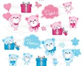 Digital Clip Art - Cute Baby Bear (girl & boy) - PNG File - 300 dpi - CA44 - Buy 2 Get 1 Free