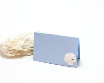 Beach Decor Sand Dollar Wedding Tags Gift Tags Mini Note Cards Light Blue Note Card with Mini Sand Dollar