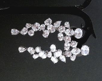 Bridal Earrings High Quality Multi Fancy Oval, Peardrop and Round Cubic Zirconia Post Earrings